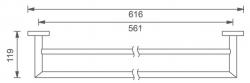 NOVASERVIS - Dvojitý držák ručníků 600 mm Titania Elis chrom (66425,0), fotografie 4/2