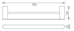 NOVASERVIS - Dvojitý držák ručníků 600 mm Titania Naty chrom (66625,0), fotografie 4/2