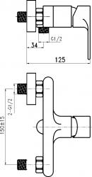 NOVASERVIS - Sprchová baterie bez příslušenství 150mm Nobless Trend chrom (41061/1,0), fotografie 4/2