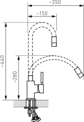 NOVASERVIS - Dřezová stojánková baterie,černá-chrom s elastickým ramenem (70710,0C), fotografie 4/2