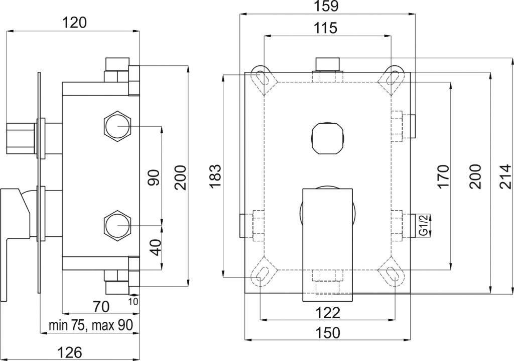 NOVASERVIS - Podomítková baterie s boxem 3 vývody, EDGE (BOX36051RX,0)