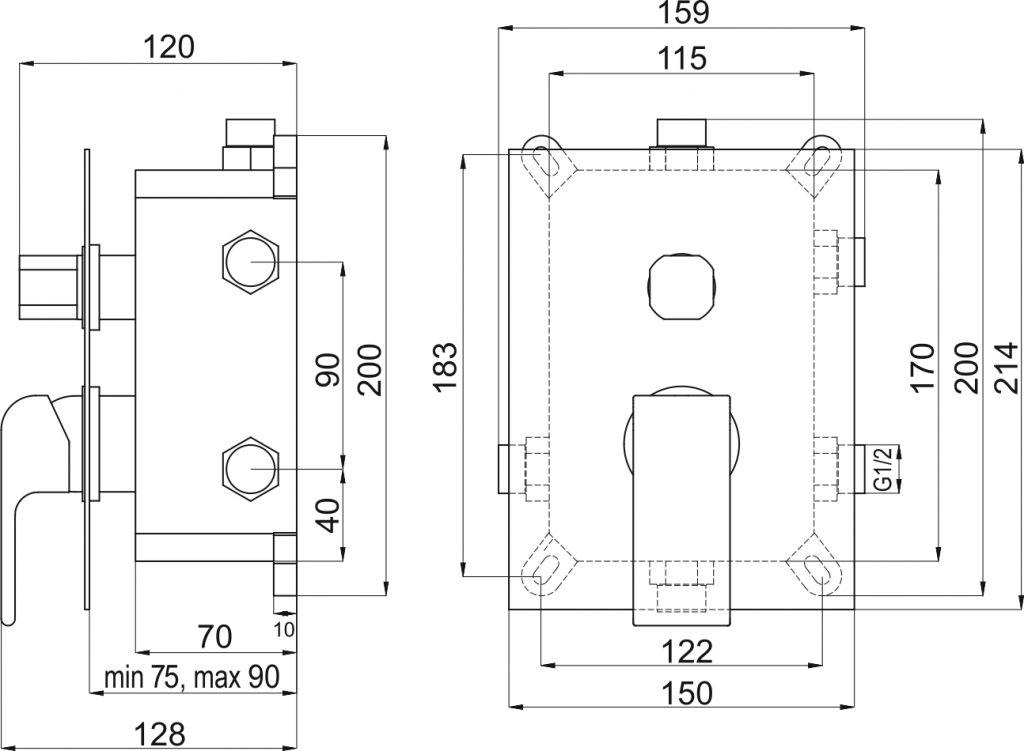 NOVASERVIS - Podomítková baterie s boxem 3 vývody, SHARP (BOX37051RX,0)