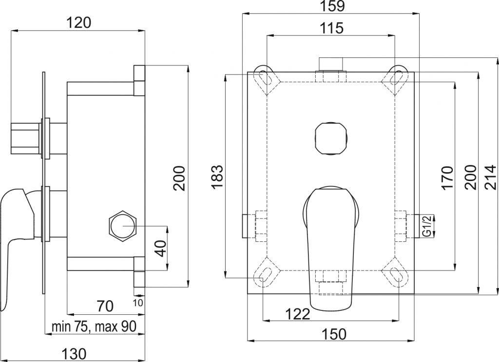 NOVASERVIS - Podomítková baterie s boxem 2 vývody, TINA (BOX38051R,0)