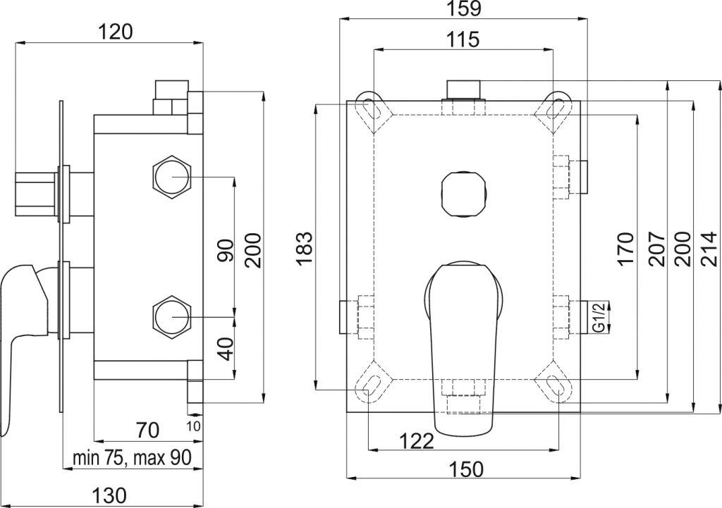 NOVASERVIS - Podomítková baterie s boxem 3 vývody, TINA (BOX38051RX,0)