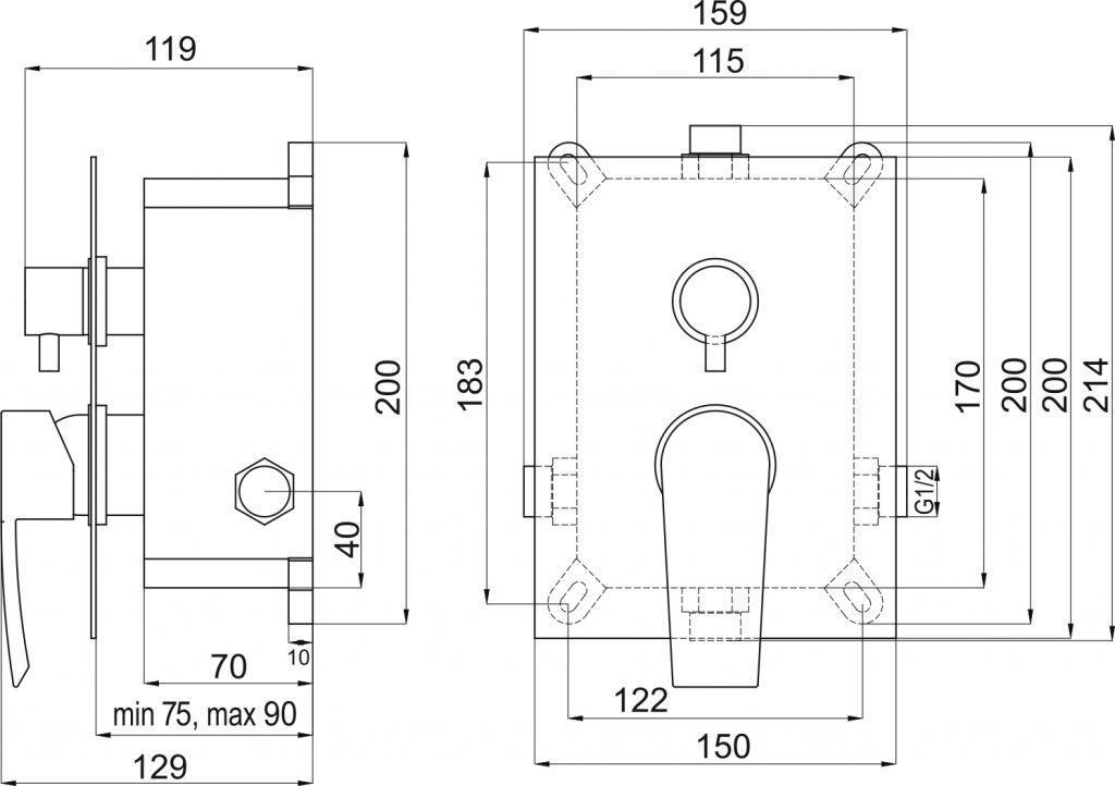 NOVASERVIS - Podomítková baterie s boxem 2 vývody, HEDA (BOX40051R,0)