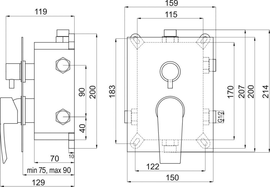 NOVASERVIS - Podomítková baterie s boxem 3 vývody, HEDA (BOX40051RX,0)
