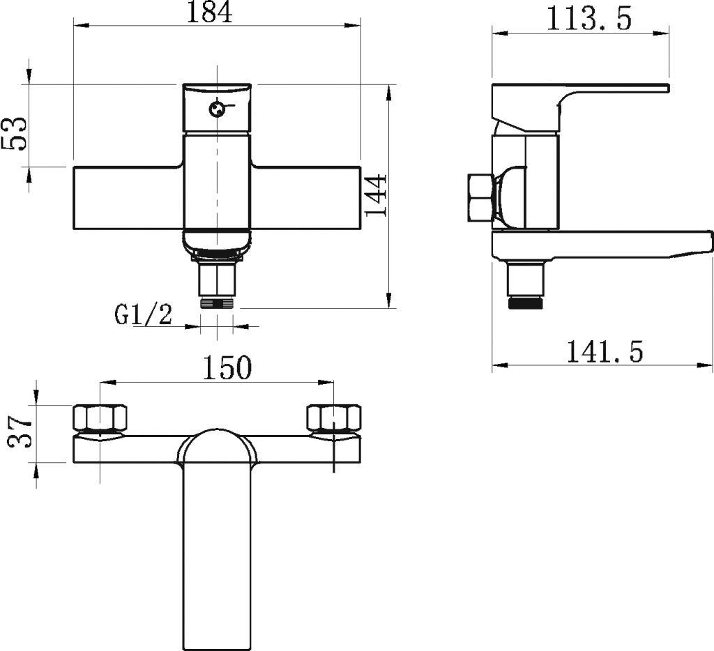NOVASERVIS - Vanová baterie bez příslušenství 150 mm Nobless Trend chrom (41022/1,0)