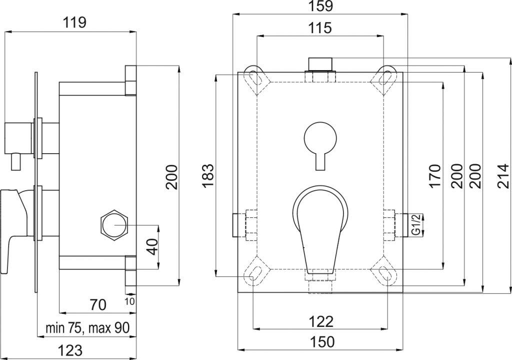 NOVASERVIS - Podomítková baterie s boxem 2 vývody, VISION X (BOX42051R,0)