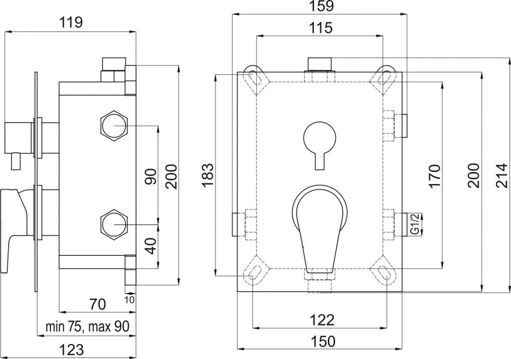 NOVASERVIS - Podomítková baterie s boxem 3 vývody, VISION X (BOX42051RX,0)