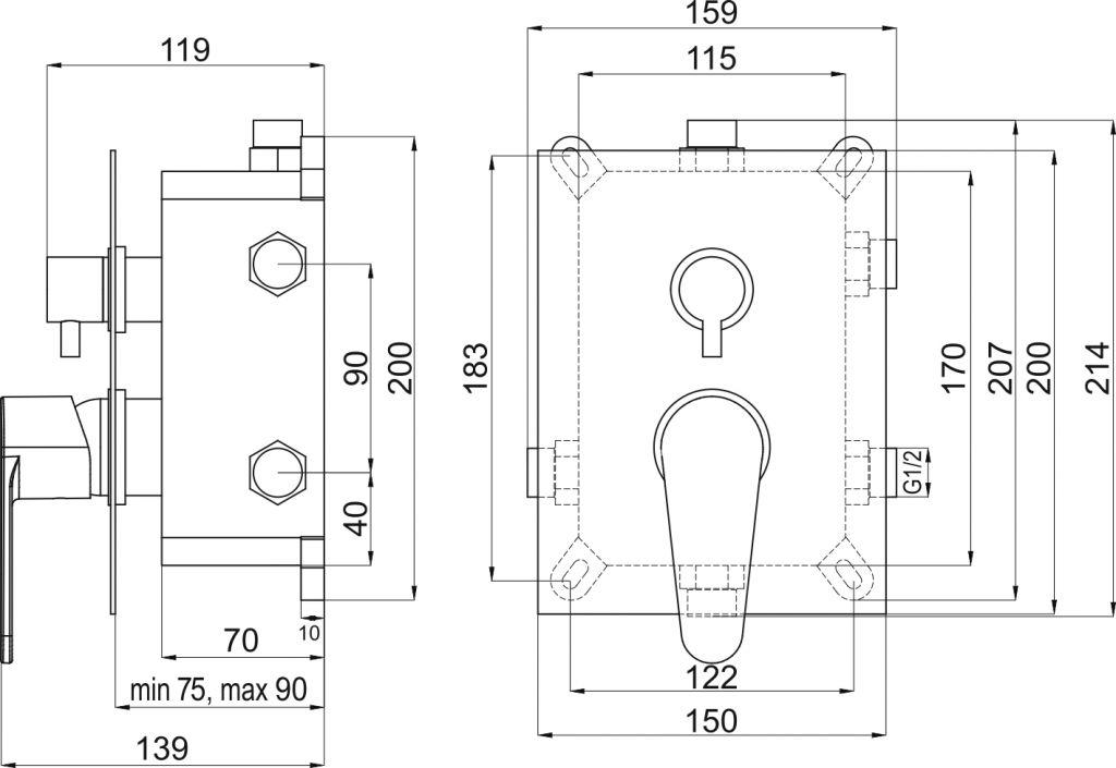 NOVASERVIS - Podomítková baterie s boxem 3 vývody, FRESH (BOX96051RX,0)