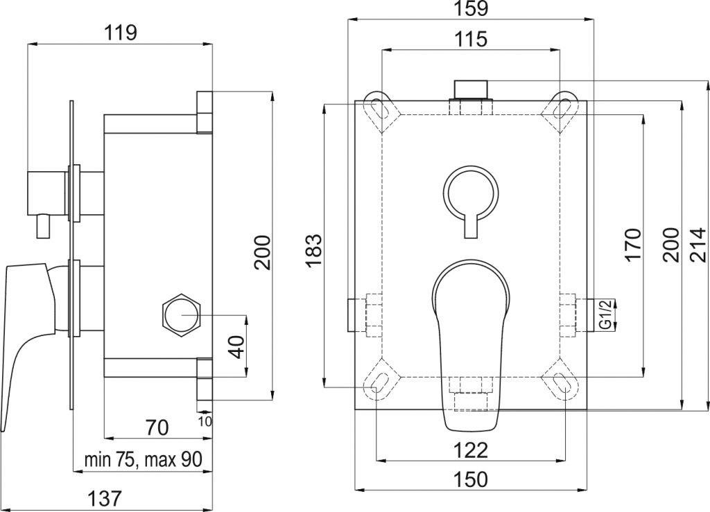 NOVASERVIS - Podomítková baterie s boxem 2 vývody, NICE (BOX97051R,0)