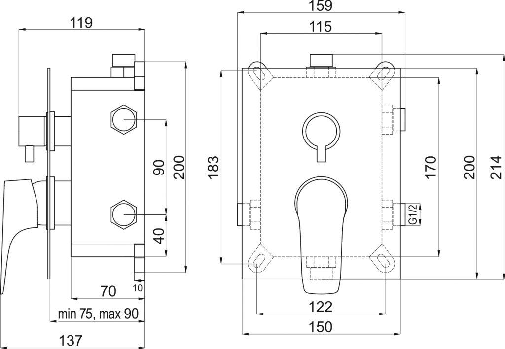 NOVASERVIS - Podomítková baterie s boxem 3 vývody, NICE (BOX97051RX,0)