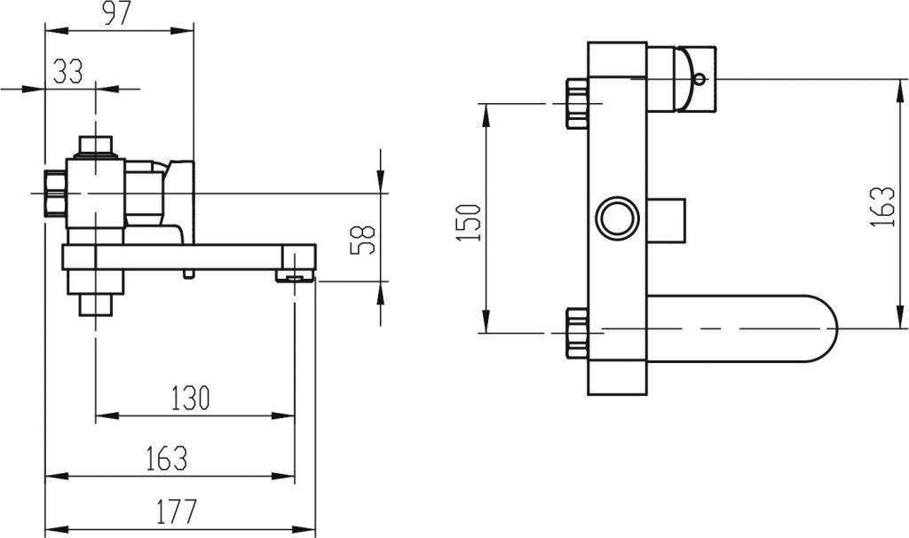 NOVASERVIS - Vanová sprchová baterie 150 mm Nobless VISION X chrom (42023/1,0)