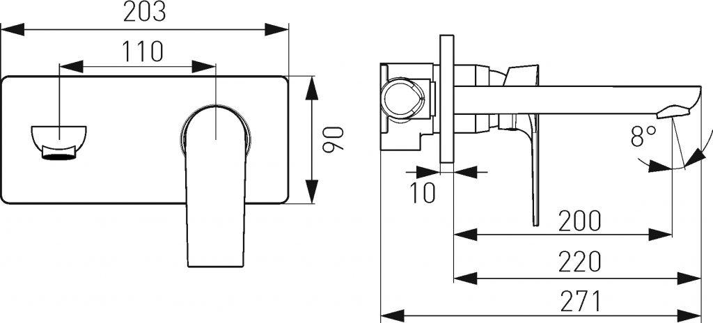 NOVASERVIS - Umyvadlová nástěnná podomítková baterie ALGEO SQUAREchrom (82200,0)