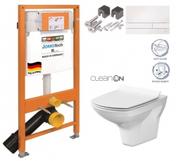 SET JOMO Duofix modul pro závěsné WC + tlačítko + montážní sada + sedátko + WC CERSANIT CLEANON CARINA (174-91100900-00 CA3) - AKCE/SET/JOMO