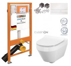 JOMOTech modul pro závěsné WC s bílou deskou + WC CERSANIT CLEANON CREA OVÁL + SEDÁTKO (174-91100900-00 CR1)
