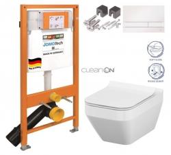 SET JOMO Duofix modul pro závěsné WC + tlačítko + montážní sada + sedátko + WC CERSANIT CLEANON CREA ČTVEREC (174-91100900-00 CR2) - AKCE/SET/JOMO
