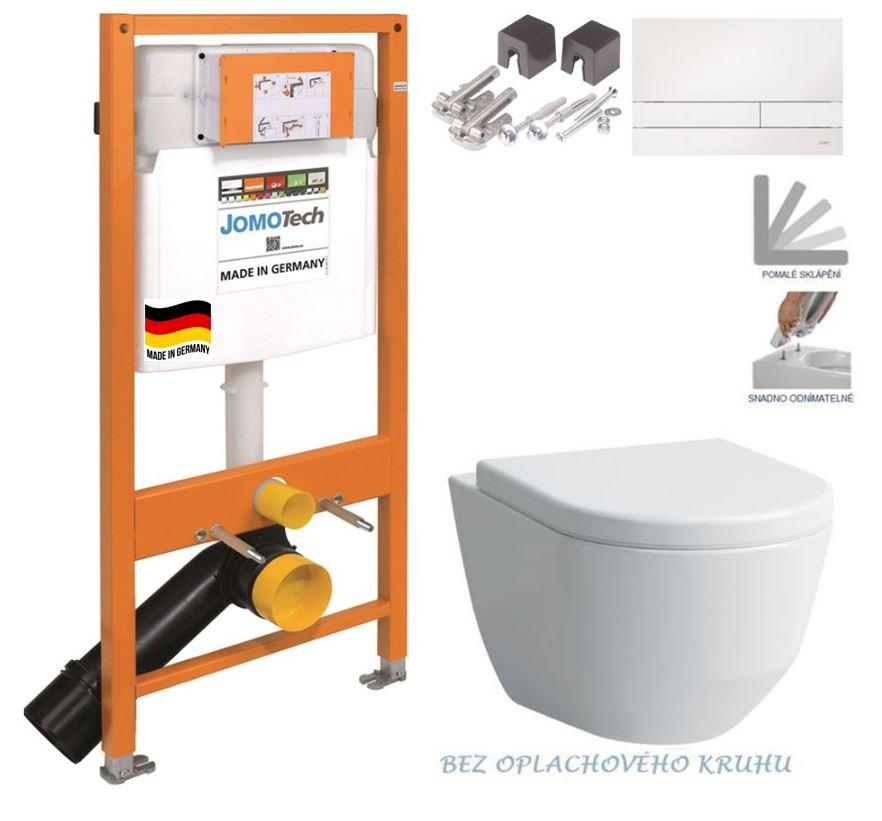 JOMOTech modul pro závěsné WC s bílou deskou + WC LAUFEN PRO RIMLESS + SEDÁTKO 174-91100900-00 LP1