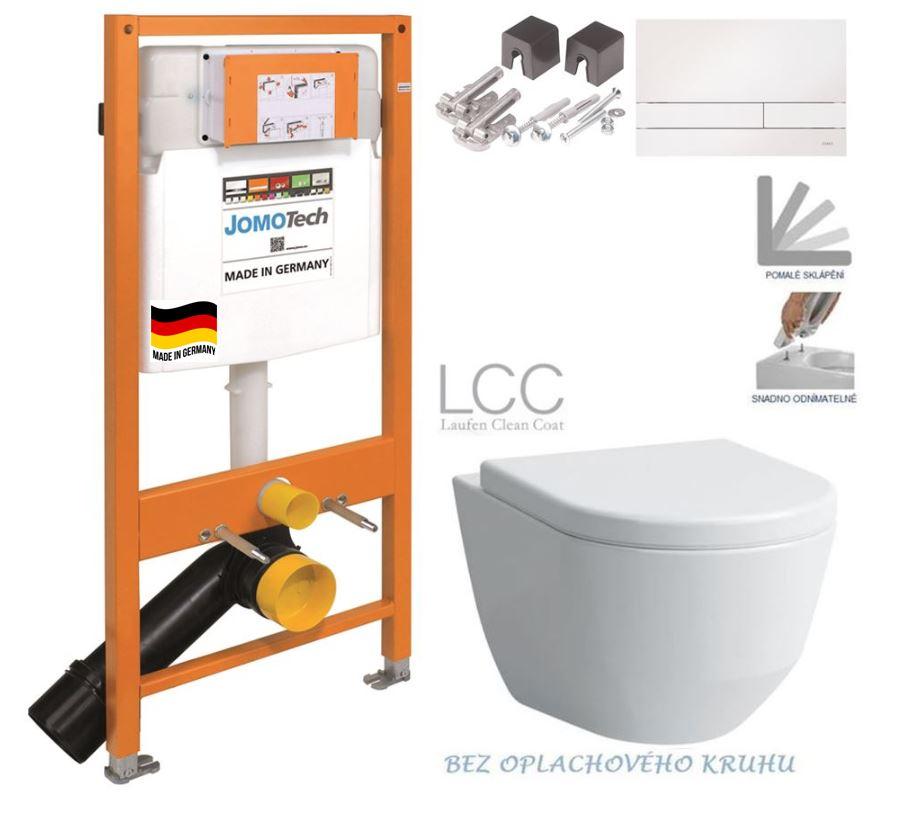 JOMOTech modul pro závěsné WC s bílou deskou + WC LAUFEN PRO LCC RIMLESS + SEDÁTKO 174-91100900-00 L