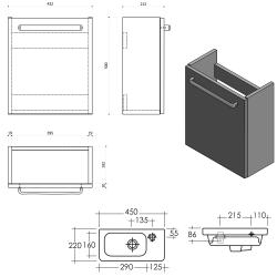 SAPHO - LATUS VII umyvadlová skříňka 43,2x50x21,2 cm, ořech bruno + umývátko RESORT 45cm (55913-SET), fotografie 2/1