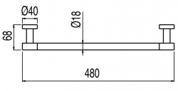 TRES - Držák na ručníky480mm. (16163601NM), fotografie 2/1