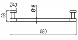 TRES - Držák na ručníky580mm. (16163602AC), fotografie 2/1