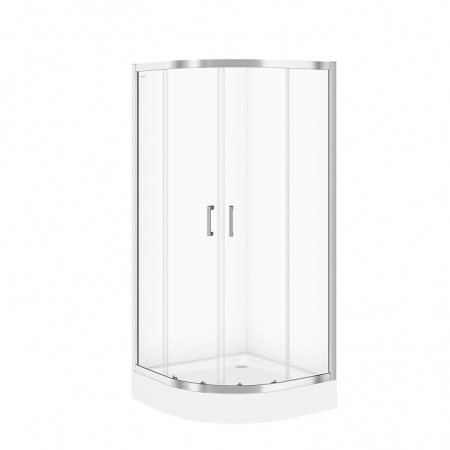 Sprchový kout BASIC čtvrtkruh 90x185, posuv, čiré sklo (S158-005)