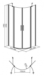 Sprchový kout MODUO čtvrtkruh 90x195, kyvné, čiré sklo (S162-010), fotografie 2/7