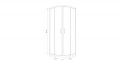 Sprchový kout čtvrtkruh 80 x190, R55, posuv, čiré sklo (S154-001), fotografie 2/5