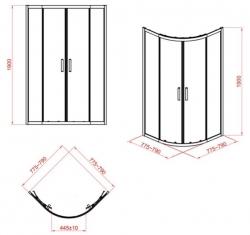 Sprchový kout čtvrtkruh 80 x190, R55, posuv, čiré sklo (S154-001), fotografie 10/5