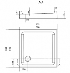 CERSANIT - Sprchová vanička TAKO 80x16, čtverec, BUILT-IN-PANEL CW (S204-011), fotografie 4/2