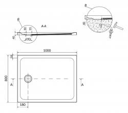 Sprchová vanička TAKO 100x80x4, obdélník CW (S204-019), fotografie 4/2