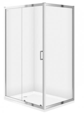 Sprchový kout obdélník 100x80x190, posuv, čiré sklo (S154-003)