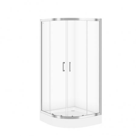 Sprchový kout BASIC čtvrtkruh 80x185, posuv, čiré sklo (S158-003)