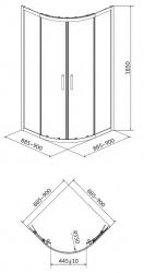 Sprchový kout BASIC čtvrtkruh 90x185, posuv, čiré sklo (S158-005), fotografie 4/2