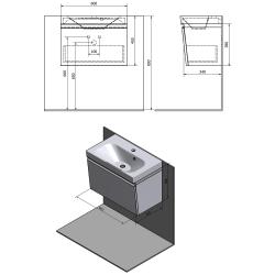 SAPHO - MELODY umyvadlová skříňka 60x38x34cm + um. JOY 60cm, bílá (56051-SET), fotografie 2/6