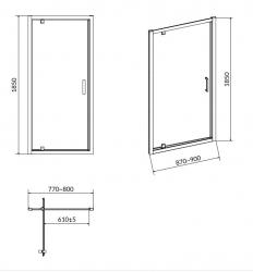 Sprchové dveře BASIC 90x185, kyvné, čiré sklo (S158-002), fotografie 4/3