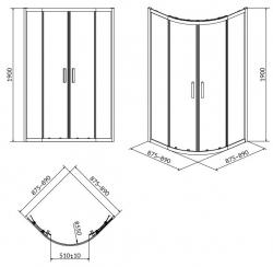 Sprchový kout ARTECO čtvrtkruh 90x190, posuv, čiré sklo (S157-002), fotografie 8/4