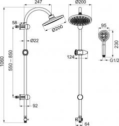 NOVASERVIS - Sprchový set k baterii se spodním vývodem chrom (SET030,0), fotografie 4/2