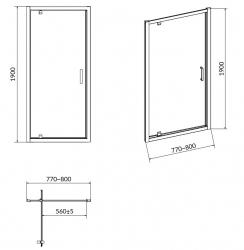 Sprchové dveře ARTECO 80x190, kyvné, čiré sklo (S157-007), fotografie 6/3