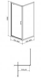 Sprchový kout ARTECO čtverec 80x190, kyvný, čiré sklo (S157-009), fotografie 4/2