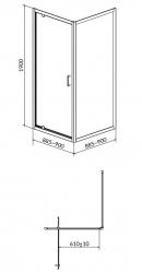Sprchový kout ARTECO čtverec 90x190, kyvný, čiré sklo (S157-010), fotografie 4/2
