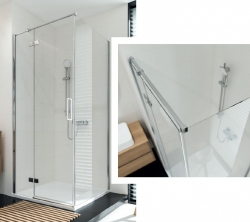 Sprchový kout JOTA čtverec 90x195, kyvný, pravý, čiré sklo (S160-002), fotografie 2/9