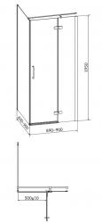 Sprchový kout JOTA čtverec 90x195, kyvný, pravý, čiré sklo (S160-002), fotografie 18/9