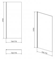 Sprchová pevná boční stěna MODUO 80x195, čiré sklo (S162-007), fotografie 4/2