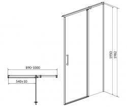 Kyvné dveře s pevným polem MODUO 90x195, pravé, čiré sklo (S162-006), fotografie 10/5
