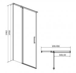 Kyvné dveře s pevným polem MODUO 90x195, levé, čiré sklo (S162-005), fotografie 10/5