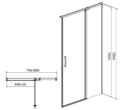 Kyvné dveře s pevným polem MODUO 80x195, pravé, čiré sklo (S162-004), fotografie 10/5