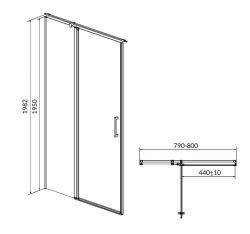 Kyvné dveře s pevným polem MODUO 80x195, levé, čiré sklo (S162-003), fotografie 10/5