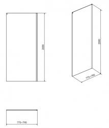 Boční stěna k posuvným dveřím CREA 80x200, čiré sklo (S900-2613), fotografie 4/2